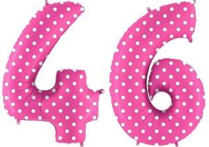 Luftballon Zahl 46 Zahlenballon pink mit weißen Punkten (100 cm)