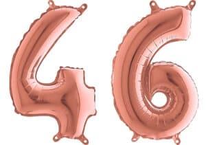 Luftballon Zahl 46 Zahlenballon rosegold (66 cm)