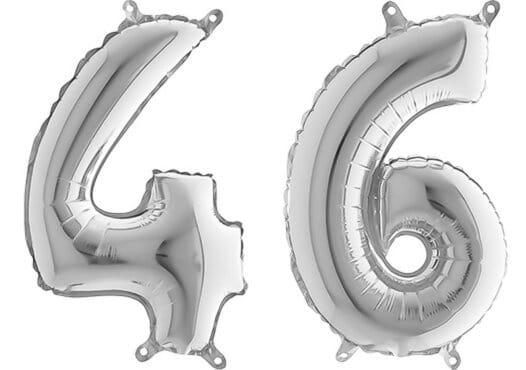 Luftballon Zahl 46 Zahlenballon silber (66 cm)