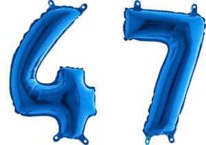 Luftballon Zahl 47 Zahlenballon blau (66 cm)