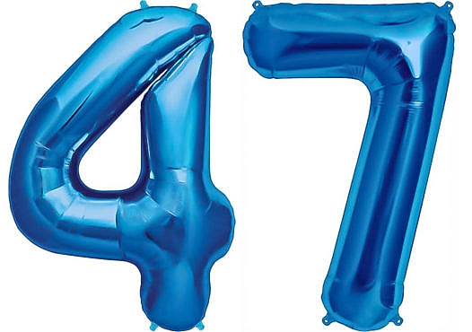 Luftballon Zahl 47 Zahlenballon blau (86 cm)