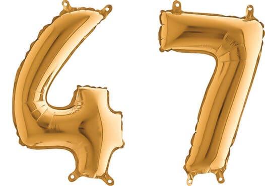 Luftballon Zahl 47 Zahlenballon gold (66 cm)