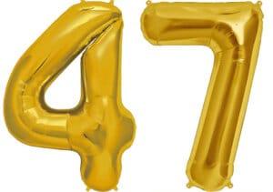 Luftballon Zahl 47 Zahlenballon gold (86 cm)