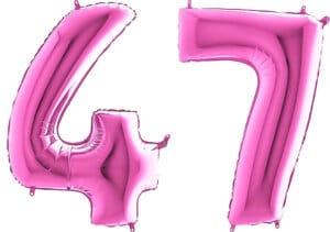 Luftballon Zahl 47 Zahlenballon pink (66 cm)