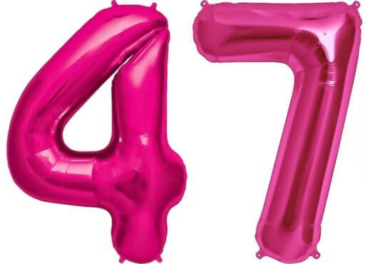 Luftballon Zahl 47 Zahlenballon pink (86 cm)