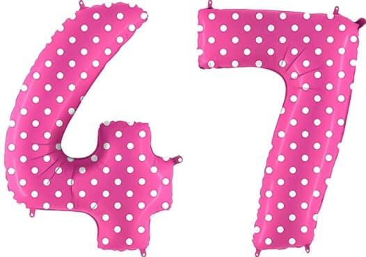 Luftballon Zahl 47 Zahlenballon pink mit weißen Punkten (100 cm)