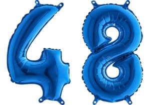 Luftballon Zahl 48 Zahlenballon blau (66 cm)
