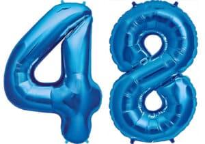 Luftballon Zahl 48 Zahlenballon blau (86 cm)