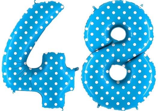 Luftballon Zahl 48 Zahlenballon blau mit weißen Punkten (100 cm)