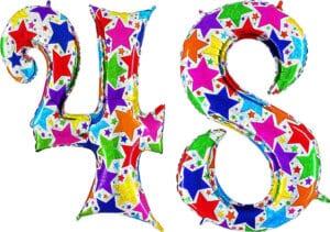 Luftballon Zahl 48 Zahlenballon silber mit bunten Sternen (100 cm)