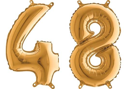 Luftballon Zahl 48 Zahlenballon gold (66 cm)