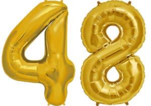 Luftballon Zahl 48 Zahlenballon gold (86 cm)