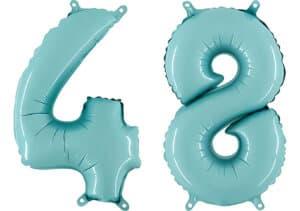Luftballon Zahl 48 Zahlenballon pastell-blau (100 cm)