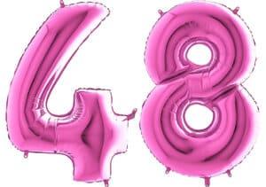 Luftballon Zahl 48 Zahlenballon pink (66 cm)