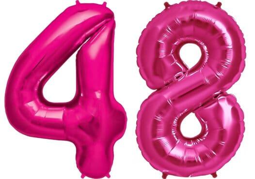 Luftballon Zahl 48 Zahlenballon pink (86 cm)