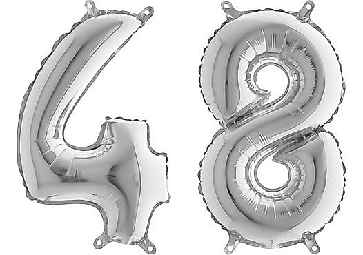 Luftballon Zahl 48 Zahlenballon silber (66 cm)