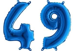 Luftballon Zahl 49 Zahlenballon blau (66 cm)