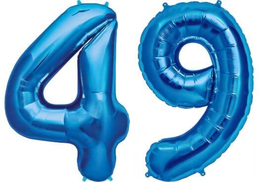 Luftballon Zahl 49 Zahlenballon blau (86 cm)