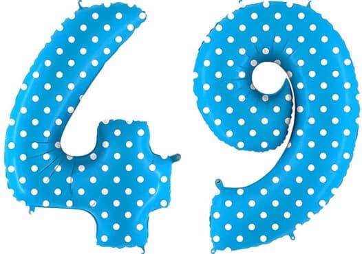 Luftballon Zahl 49 Zahlenballon blau mit weißen Punkten (100 cm)