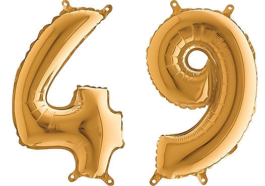 Luftballon Zahl 49 Zahlenballon gold (66 cm)