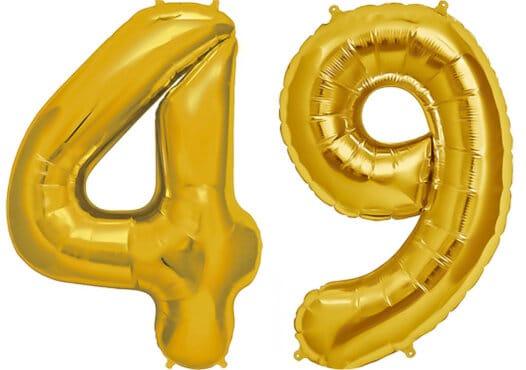 Luftballon Zahl 49 Zahlenballon gold (86 cm)