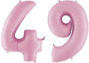 Luftballon Zahl 49 Zahlenballon pastell-pink (100 cm)