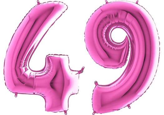 Luftballon Zahl 49 Zahlenballon pink (66 cm)