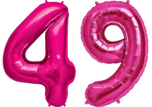 Luftballon Zahl 49 Zahlenballon pink (86 cm)