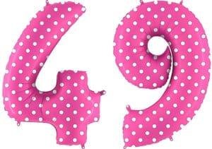 Luftballon Zahl 49 Zahlenballon pink mit weißen Punkten (100 cm)