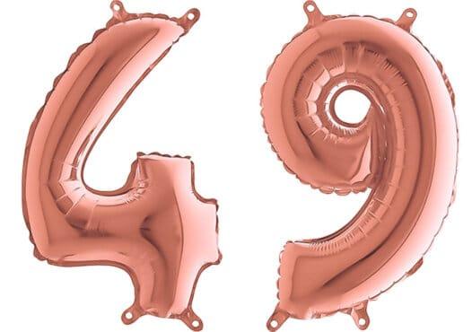 Luftballon Zahl 49 Zahlenballon rosegold (66 cm)