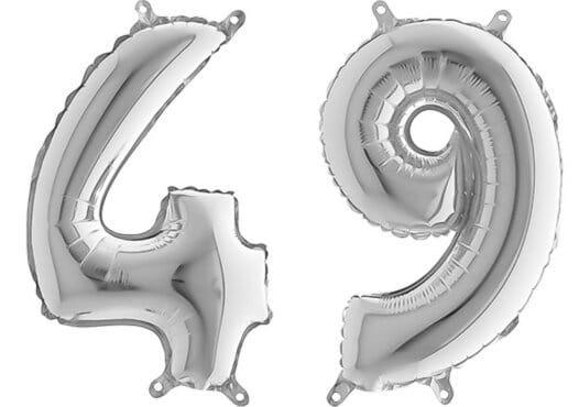 Luftballon Zahl 49 Zahlenballon silber (66 cm)