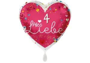 Herz Luftballon Alles Liebe Zahl 4 rot (38 cm)