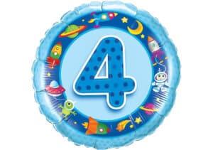 Geburtstagsluftballon mit Kindermotiven und Zahl 4 blau (38 cm)