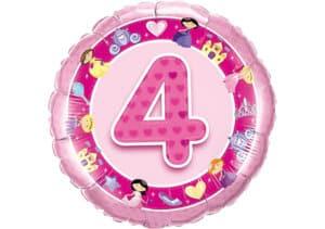 Geburtstagsluftballon mit Kindermotiven und Zahl 4 pink (38 cm)