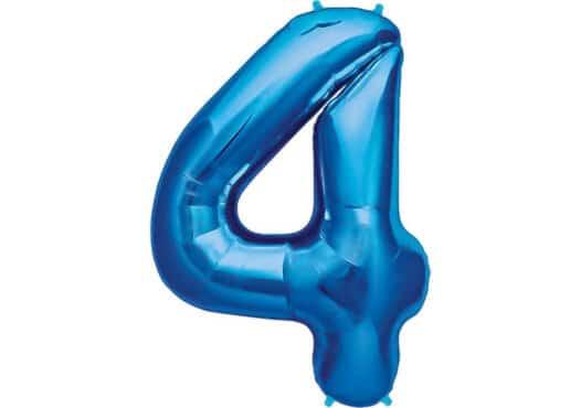 Luftballon Zahl 4 Zahlenballon blau (86 cm)