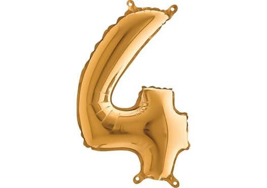 Luftballon Zahl 4 Zahlenballon gold (66 cm)