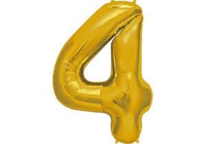Luftballon Zahl 4 Zahlenballon gold (86 cm)