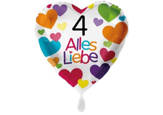 Herzluftballon mit kleinen Herzen Alles Liebe Zahl 4 weiß (38 cm)