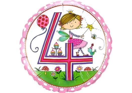 Runder Luftballon mit Prinzessin Geburtagszahl 4 pink (38 cm)