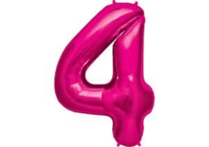 Luftballon Zahl 4 Zahlenballon pink (86 cm)