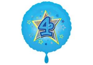 Runder Luftballon mit Stern und Zahl 4 blau (38 cm)