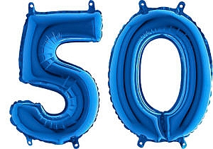 Luftballon Zahl 50 Zahlenballon blau (66 cm)