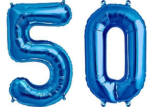 Luftballon Zahl 50 Zahlenballon blau (86 cm)