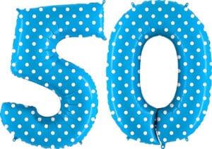Luftballon Zahl 50 Zahlenballon blau mit weißen Punkten (100 cm)