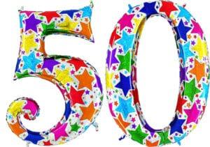 Luftballon Zahl 50 Zahlenballon silber mit bunten Sternen (100 cm)