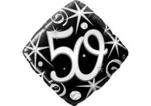 Eleganter Diamant-Luftballon mit Zahl 50 schwarz (38 cm)