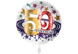 Runder Luftballon mit Glitzersternen und Zahl 50 in weiß (38 cm)