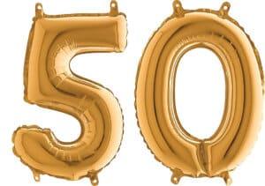 Luftballon Zahl 50 Zahlenballon gold (66 cm)