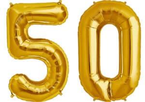 Luftballon Zahl 50 Zahlenballon gold (86 cm)