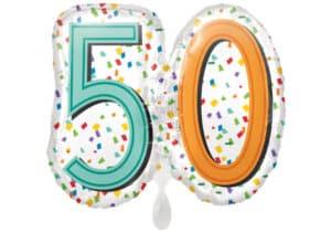 Luftballon Geburtstagszahl Zahl 50 bunt (38 cm)